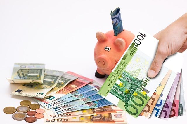 prasátko, eurové bankovky, mince